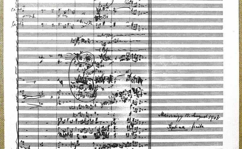 Gustav Mahler. Notenblatt Schlussakkord der 7. Symphonie