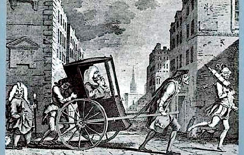Arztbesuch in Frankreich, 18. Jh. englischer Stich